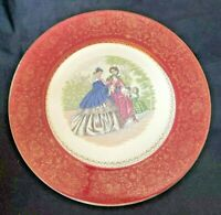 "Imperial Salem Red China Service Plate 11"" Victorian Ladies 23k Gold USA Vintage"