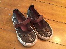 MORGAN AND MILO BROWN SEQUIN Velcro MARY JANE SNEAKERS  SIZE 9 EUC