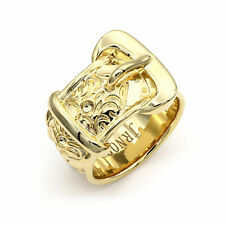 Jewelco London Mens Flash-plated Solid Brass Single Buckle Ring 20mm Size Z+1