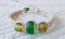 Thick Natural Hemp Bracelet Recycled Glass Bead Friendship Handmade Surfer