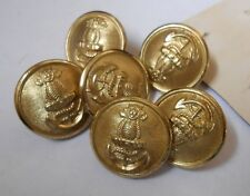 six india navy  large vintage brass buttons by firmin of london