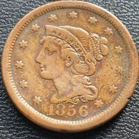 1856 Large Cent Braided Hair One Cent 1c Better Grade #25993