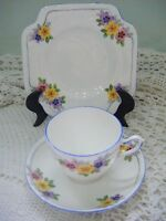 Rare Hand Painted 1930's Floral Art Deco Vintage Grafton China Trio Set