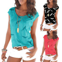 Women Ladies Printing Short Sleeve Vest Casual Loose Tunic Shirt Tops Blouse UK