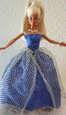 Ooak 4 Barbie ~ Blue & Silver with Mesh Overlay Gown + Necklace + Free Boa/Wrap