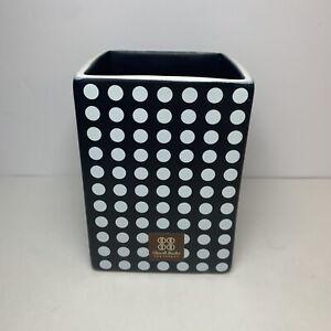 Dwell Studio for Target Tumbler Black White Polka Dots Ceramic Toothbrush Holder