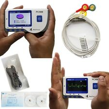 PORTABLE Color LCD Screen ECG EKG Portable Heart Rate recorder Holter Monitor CE