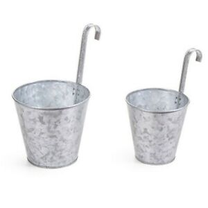 Galvanized Pots with metal hook handle (Set of Two) Planters or Organizers