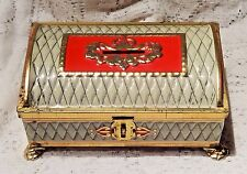 VINTAGE FRICKE & NACKE IVORY, RED & GOLD FOOTED TIN CHEST BANK - WEST GERMANY