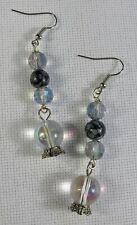 Crystal Ball Dangle Earrings With Snowflake Obsidian Beads