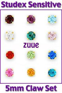 HYPOALLERGENIC STUDEX SENSITIVE 9ct G/Plated 5mm CLAW SET BIRTHSTONE EARRINGS