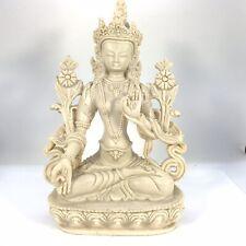 WHITE TARA Tibetan Buddhist Statue Handmade from Nepal Resin 8 Inch W
