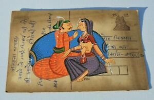 A LOVELY OLD RAJASTHAN MINIATURE PAINTED INDIAN POSTCARD OF LOVERS 87