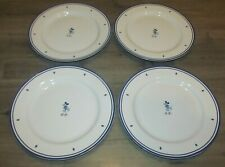 4pc Disney Mickey MM Mouse Ceramic Dinner Plate Set Blue & White Yummy 11""