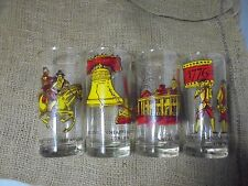 Lot of 4 American Bicentennial Drinking Glass Liberty Bell Military 1976 Vintage