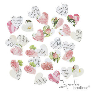 FLORAL HEART SHAPED PAPER TABLE SCATTER/CONFETTI -Wedding Decoration- CLEARANCE