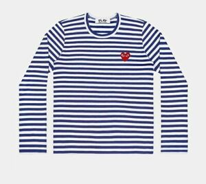 100% AUTHENTIC NEW COMME DES GARCONS CDG Play Men's STRIPED T164 NAVY/WHITE