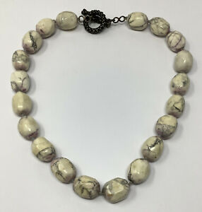 """DIAN MALOUF Heavy Howlite Sterling Silver Toggle Necklace 16"""" (126.3 g.)"""