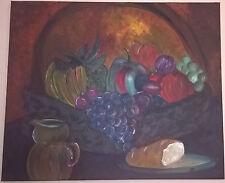 Original hand painted still life painting dark fruit kitchen dining forbidden