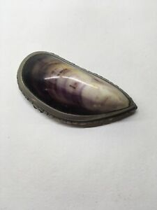 Vintage Mussel Shell And Metal Coin Purse Trinket Box