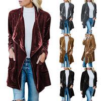 Women Slim Velvet Blazer Jacket Ladies Elegant Career OL Coat Cardigan Tops
