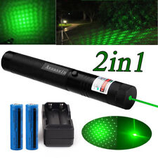 30Miles Green Lazer Pen Pointer Visible Beam Star Pattern 18650 Battery +Charger