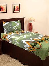 Homefab India Zig-Zag Design Green Cotton Single Bed-Sheet (Single178)