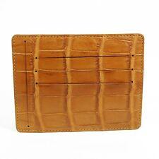 Beige Real Crocodile Alligator Leather Belly Skin Mens Credit Card Case Wallet.