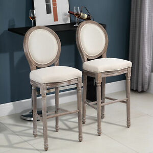 Vintage Pub Bar Stool 2PCs Set With Footrest Rubber Wood Linen (cream white)