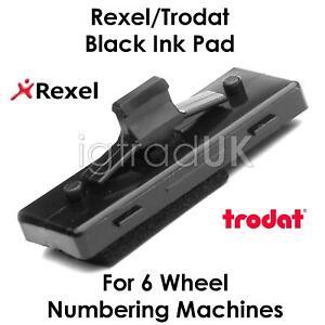 1 X BLACK INK PAD FOR REXEL UN12/15 TRODAT 5746/5756 6 WHEEL NUMBERING MACHINES