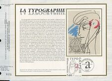 FEUILLET CEF / DOCUMENT PHILATELIQUE / TABLEAU / LA TYPOGRAPHIE RAYMOND GID 1986