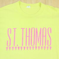 Vtg 90s St Thomas T-Shirt XL Faded Yellow Single Stitch Surf Skate Grunge USA