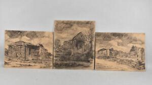 f95r96- 3x Zeichnung, Kohlezeichnung, Landschaft, sign. G.Bürger, dat.'17
