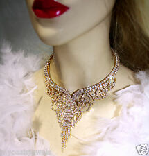 Rhinestone Crystal Choker Rose Necklace Earring Pageant Drag Gold Tone Clear