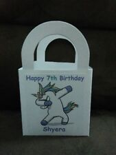 DABBING UNICORN Personalized  Birthday Party 12 Favor Boxes / goody bags