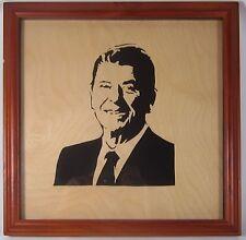 Republican Ronald Reagan Portrait Retro Pop Art Sculpted Wood Silhouette Bust