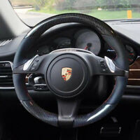 Carbon Fiber&PU Leather Steering Wheel Stitch on Wrap Cover For Porsche Panamera