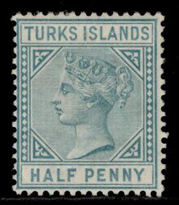 TURKS & CAICOS ISLANDS QV SG53, ½d blue-green, M MINT. Cat £27.