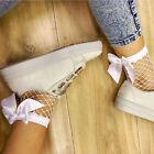 AU Fashion Women Mesh Ankle High Fishnet Pattern Sheer Satin Bow Socks Fits
