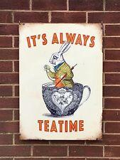 Alice in Wonderland It's Always Teatime - XL Tin Metal Wall Sign