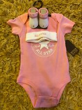 Baby Girls Pink Converse All Star Body Suit Vest Sock And Hat 0-6 Months BNWT