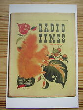 New Postcard Vtg Radio Times Cover September 1936 Autumn Red Squirrel Leaves