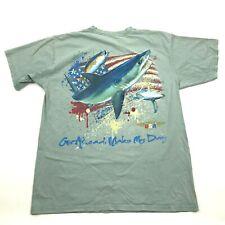 VINTAGE Angler Shark Tournament Shirt Size Large L Loose Fit Pocket Tee USA MADE