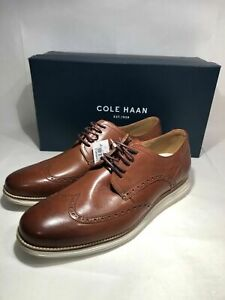 Genuine Cole Haan Grand Wingtip Mens Oxford Brown Leather Shoes C26471 Closeout!