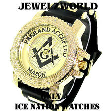 MEN'S ICE NATION GOLD ICED OUT FREEMASON MASONIC MASON WATCH WITH BULLET BAND