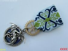 Steampunk Medal pin drape badge brooch dragon blue game of thrones Harry Potter