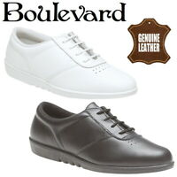 Boulevard Treble Women's Casual Comfort Black and White Leather Oxford Shoes