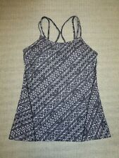 Gaiam women's black/white print padded racer-back sports bra top Sz S