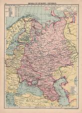 1929 MAP ~ RUSSIA IN EUROPE GENERAL ~ ESTONIA LITHUANIA FINLAND
