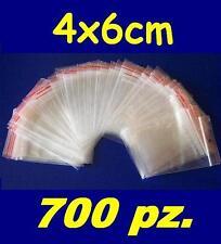 700 pz. BUSTINE ZIP, buste, sacchetti plastica, chiusura a cerniera, 4x6 cm